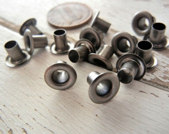"""3/16""""  Eyelets in GUNMETAL/ANTIQUE NICKEL Finish - Perfect for Leather and Metal Crafts - 100 Pack - Setter and Leather Sold Separately."""