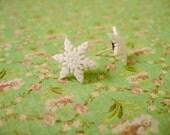 Snowflake Earrings, White Snowflake Earrings, White Jewlery, White Earrings, Holiday Jewelry