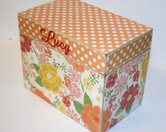 Recipe Box - Orange Floral Recipe Box, 4x6 Recipe, Polka Dot Box, Orange and Red, Handmade Wooden Box, Address File, Wedding Guest Book Box