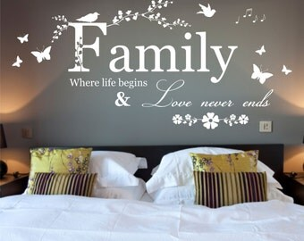 Family Where Life Begins Quote, Vinyl Wall Art Sticker Decal Mural, Bedroom, Lounge 116cm Wide