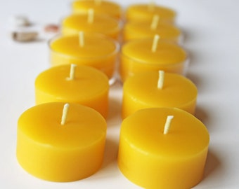 beeswax tealights refills, set of 12, unscented tealights