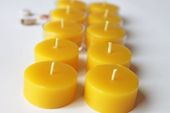 beeswax tea light refills, set of 12, unscented tea lights