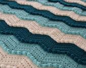 Teal aqua chevron ripple waves crochet aghan - Ready to ship