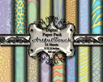 "Digital Paper, 16 Digital Scrapbook Paper Pack (12"" X 12"" - 300 DPI) - Pastel Animal Print - Scrapbooking, Cards, etc - INSTANT DOWNLOAD"