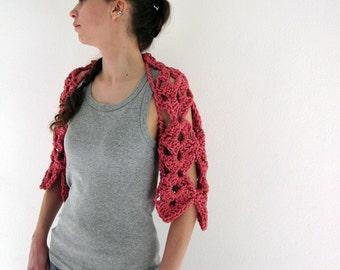 Crochet shrug bolero in coral pink