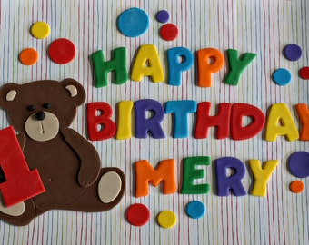 Fondant Polka Dot and Happy Birthday Message Cake Decorations Perfect for a Birthday Cake