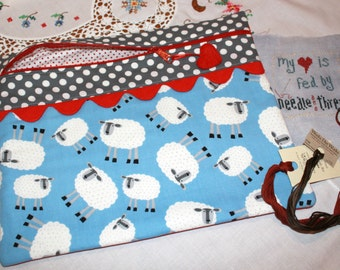 Adorable Sheep & Polka Dots Cross Stitch, Sewing, Embroidery Project Bag
