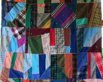 Antique Vintage Quilt Striking Improvisational Crazy Design - Beautiful Fabrics