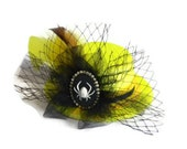Acid Yellow Top Hat, Funky Neon Yellow Glitter Hat with Rhinestone Spider Brooch, Black Birdcage Netting and Yellow Feathers