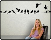 BIRDS ON A  WIRE wall decal  6ft long