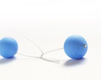Sky blue Bubble earrings hollow matte glass beads