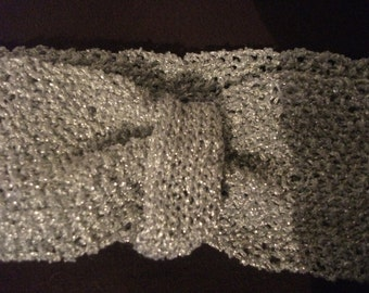 SILVER KNITTED HEADBAND, handmade, stretchy, accessories