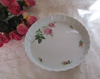 Chrisfineholm The Rose Collection Quiche Pie Dish Pink Floral Rose