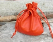 Large Leather Drawstring Pouch Bag - Jewelry Pouch - Sack Bag - Money Pouch - Pouch - Leather - Orange