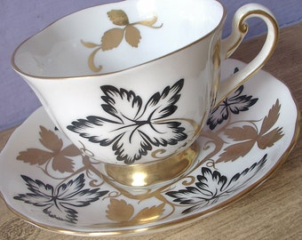 Antique Black and White tea cup, Royal Chelsea tea cup and saucer, English tea cup, black and gold tea cup, Gold white Bone china tea cup