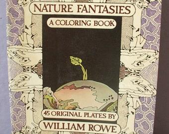 Vintage Nature Fantasies A Coloring book, 1977, nature art book, fish insect art, sea shell art, nature craft book