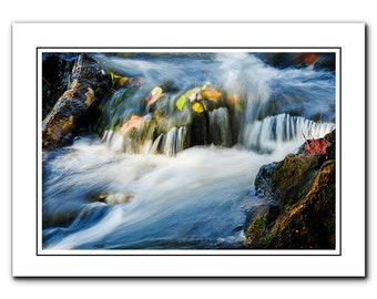 Nature Note Card with Envelope, River landscape Photo Card, Blank inside, Greeting Card, blue