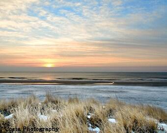 Beach Sunrise Photo, Blue wall art, Fine Art Beach decor, Ocean City NJ, Winter Sunrise, Atlantic Ocean