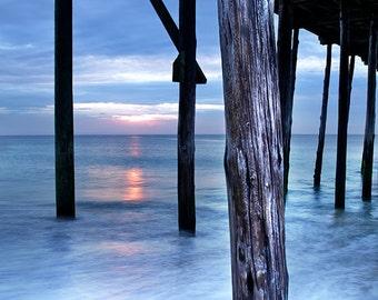 Ocean Sunrise Beach Print, Limited Edition, blue, orange, cottage wall art, bedroom decor