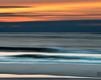 Ocean Seascape Panoramic Print, Blue, Orange, Abstract wall decor, large panoramic print, Signed Print