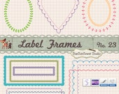 Journal Tags - Hearts Leaf Bordered Ovals and Rectancles Frames Clipart  - Set 23 with Brushes & Custom Shapes