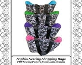 """Shopping bag tote PDF Sewing Pattern with handles nesting set of four, instant pattern download """"Sophia"""""""