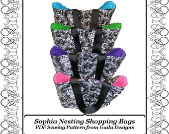 "Shopping bag tote PDF Sewing Pattern with handles nesting set of four, instant pattern download ""Sophia"""