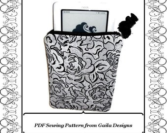 "PDF Sewing Pattern Kindle, Kindle Fire, Nook, Nook color, Sony, Kobo eReader  case cover with zipper, padding, fully lined ""Claire"""