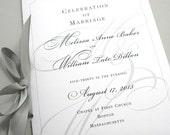 Wedding Ceremony Program Booklet Elegant Black White Custom Classic  Design Traditional Script Initials