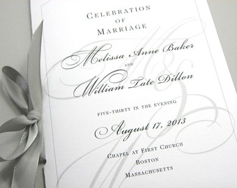 Wedding Ceremony Program Booklet Elegant Black White Custom Classic Design Traditional Script Initials