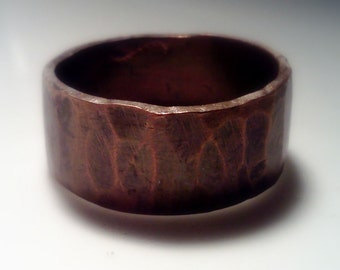 Wide Copper Band, Copper ring, Antiqued Copper band, Brushed Copper and