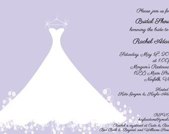 Printed Bridal Shower Invitation Lavender Wedding Gown -  Bridal Luncheon, Bridal Tea Invitation