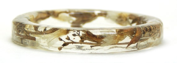 Real Dried Flower Bracelet Bangle -Resin Bangle- Floral Earthy Colors- Brown- White Bangle