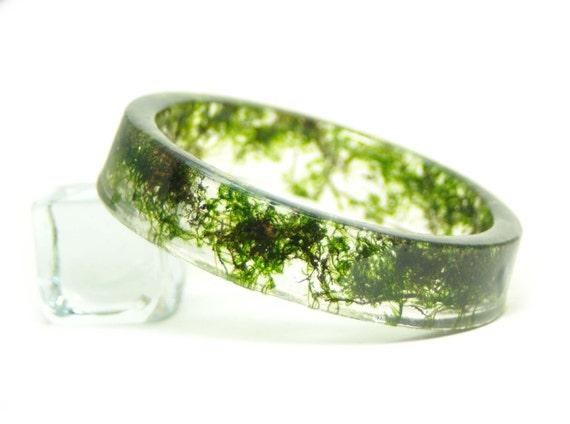 Green Bracelet- Flower Jewelry- Resin Jewelry- Green Bangle- Resin Bangle- Moss- Green Jewelry