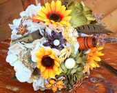 Camo hunting sunflower brooch bouquet etsy wedding
