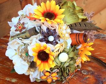 Camo hunting sunflower brooch bouquet, shot gun shell, duck call, bridal bouquet