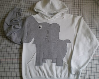 Elephant HOODIE, trunk sleeve, White elephant shirt, hooded sweatshirt, UNISEX XLARGE, cosplay, elephant sweatshirt