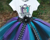 Monster High Birthday Tutu 3 piece set: embroidered shirt, tutu, headband