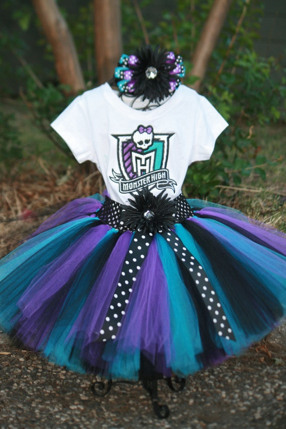 Monster High Birthday Tutu 3 Piece Set Embroidered Shirt