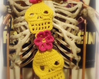 Crochet Skull Scarf Pattern With Flowers PDF Pattern Instant Download