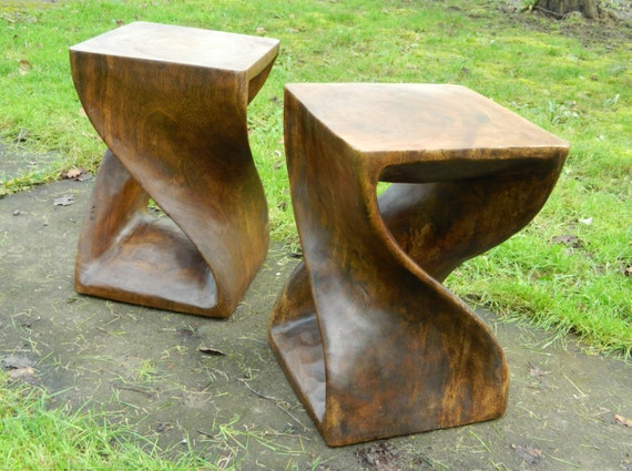 Modernist Twisted Wood Stools End Tables By Orwadesigns