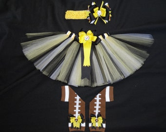 Pittsburgh Steelers inspired tutu set custom made your choice of size up to a 4t