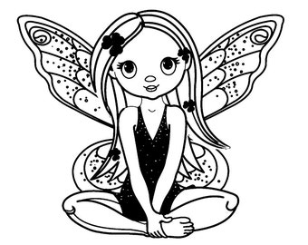 Cute Sitting Fairy // FLONZ Clear stamp clingy acrylic