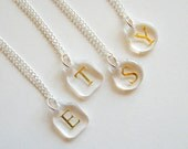 Enchanted Petite Gold Foil Initial Necklace - Personalized Monogram Jewelry - minimal, modern, everyday casual, gift