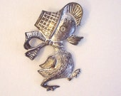 Sweet Vintage Spring DUCKLING, DUCK Child's Pin- Silver Tone Metal