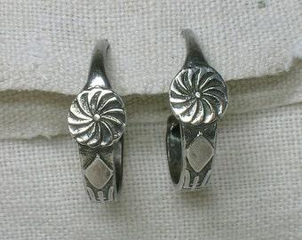 Tribal Hoop Earrings, Chinese Longevity Symbol. Unisex 925 Silver, Chunky