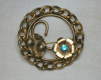 Vintage Brooch: 1940s 1950s Chain & Flower. December Birthstone