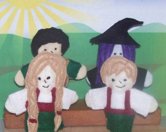 The story of Hansel and Gretel set of 4 Original Felt Finger Puppets for Imaginative Play and Learning