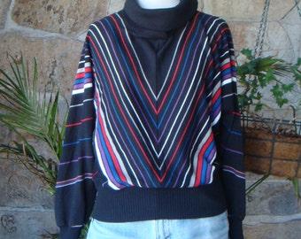 80's TURTLENECK SWEATER vintage striped batwing pullover jumper S