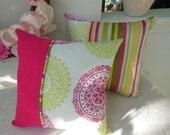 Decorative Pillow - Raspberry Lime Spiral Design Pillow - Reversible 15 x 15 Inch - Striped Pillow